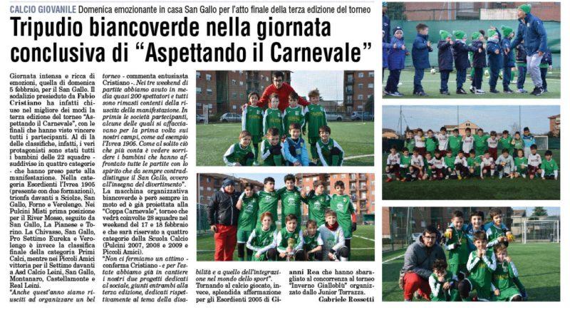 """Tripudio BiancoVerde al torneo """"Aspettando il Carnevale"""""""